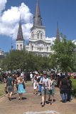 New Orleans French Quarter St. Louis Cathedral Touist. New Orleans French Quarter Vieux Carre Jackson Square St. Louis Cathedral Touist Stock Photography