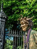New Orleans French Quarter Street Performer in Mardi Gras Mask Royalty Free Stock Photos