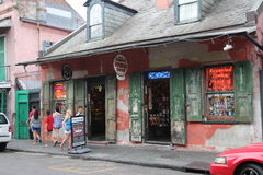New Orleans French Quarter. Streets of New Orleans, Louisiana - Typical houses of the French Quarter with traditional music bars and cafes. The city is famous royalty free stock photo