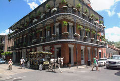 New Orleans French Quarter Vieux Carre with Carriage and Tourist. National Battlefield in Chalmette, Louisiana showing Cannons and Plantation Home and Oak Tree Royalty Free Stock Image