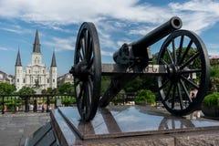 New Orleans helgon Louis Cathedral med Canon Royaltyfria Bilder