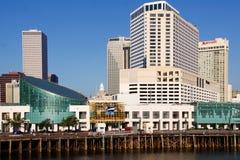 New Orleans - het Aquarium en de Hotels van de Waterkant Royalty-vrije Stock Foto's