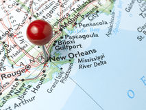 New Orleans. Highlighted on a map stock photo