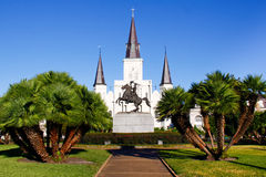 New Orleans Historic St Louis Cathedral. A bright morning view of beautiful historic St. Louis Cathedral from Jackson Square in the world famous French Quarter Stock Image