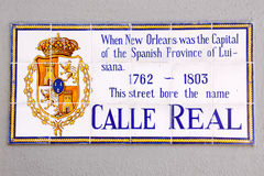 New Orleans Historic Street Sign Royal Street. One of many historic street signs referencing the original french names of Royal Street and others found in the stock photo