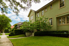 New Orleans Homes. New Orleans, LA USA - April 21, 2016: Beautiful homes in the upscale historic Saint Charles Avenue area Royalty Free Stock Photos