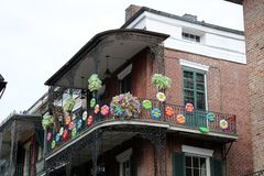 New Orleans Houses vintage balconies. Of the death city royalty free stock photos