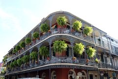 New Orleans Houses vintage balconies royalty free stock photography