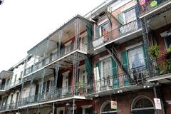 New Orleans Houses vintage balconies. Of the death city stock photos