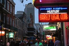 New Orleans Hustler. A close up of the Barely Legal club on Bourbon street in New Stock Photo