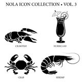 New Orleans Icon Collection. With seafood crawfish, blue crab, and shrimp plus Hurricane cocktail passion fruit local drink Stock Images