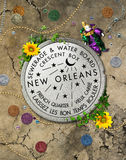 New Orleans Iconic Water Meter. Original graphic design poster Water Meter New Orleans, French Quarter, Louisiana Stock Photos