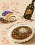 New Orleans, ilustración meridional del alimento Imagen de archivo libre de regalías