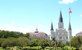 New Orleans at Jackson Square and St. Louis Cathedral. Stock Photo
