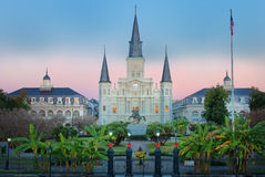 New Orleans Jackson Square Sunrise. The sun rose upon Jackson Square in New Orleans, LA while the city was dressed up for the holidays royalty free stock photo
