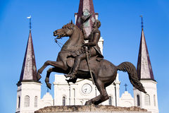 New Orleans Jackson Statue St Louis Cathedral. Historic St. Louis Cathedral is the backdrop for this statue of Andrew Jackson, located in the middle of Jackson Stock Images