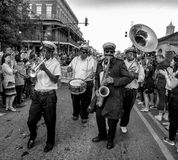 New Orleans Jazz Band. People celebrating at the New Orleans St. Patrick`s Day Parade stock photo