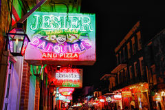 New Orleans - Jester's on Bourbon Street. A nighttime view of one of several Jester's Bar and Restaurants on Bourbon Street in the famous French Quarter section Stock Images