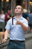 NEW ORLEANS, LA - APRIL 13: Juggler performs on street in New Orleans, LA on April 13, 2014 Stock Photography