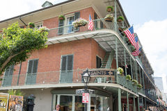 NEW ORLEANS, LA - APRIL 13: Street in the French Quarter of New Orleans, Louisiana showing historic buldings with unique Stock Image