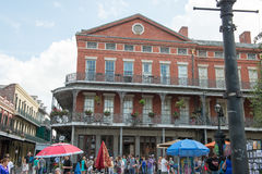 NEW ORLEANS, LA - APRIL 13: Street in the French Quarter of New Orleans, Louisiana showing historic buldings with unique Stock Photography