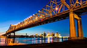 Crescent City Connection Greater New Orleans Bridge in New Orleans, Louisiana royalty free stock photos