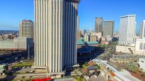 NEW ORLEANS, LA - FEBRERO DE 2016: Opinión aérea de la ciudad New Orleans a Fotografía de archivo