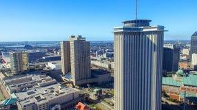 NEW ORLEANS, LA - FEBRERO DE 2016: Opinión aérea de la ciudad New Orleans a Foto de archivo libre de regalías