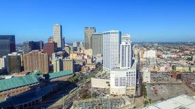 NEW ORLEANS LA - FEBRUARI 2016: Flyg- stadssikt New Orleans a Arkivfoto