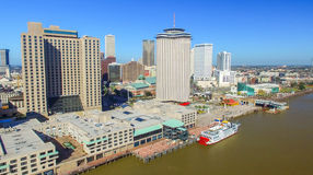 NEW ORLEANS, LA - FEBRUARY 2016: Aerial city view. New Orleans a. Ttracts 15 million people every year stock image