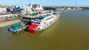 NEW ORLEANS, LA - FEBRUARY 9: Aerial view of riverboat Natchez d Stock Image