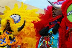 NEW ORLEANS,LA/USA -03-18-2012: An African Americans in Mardi Gr. As Indian costume. The Mardi Gras Indians are a long running tradition in New Orleans where