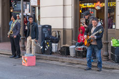 New Orleans, LA/USA - circa February 2016: Band of young musicians perform at French Quarter, New Orleans,  Louisiana Stock Photos