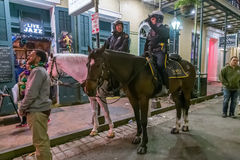 New Orleans, LA/USA - circa February 2016: Mounted Police riding horses during Mardi Gras in New Orleans,  Louisiana Royalty Free Stock Photography