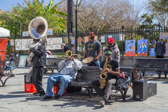 New Orleans, LA/USA - circa February 2016: Young band of musicians perform at Jackson Square, French Quarter, New Orleans,  Louisi Stock Images