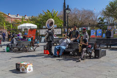 New Orleans, LA/USA - circa February 2016: Young band of musicians perform at Jackson Square, French Quarter, New Orleans Stock Photo