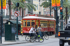 New Orleans, LA/USA - circa March 2009: African-American kids crossing Canal Street riding bicycles in New Orleans,  Louisiana Stock Photos