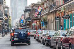 New Orleans, LA/USA - circa March 2009: Streets of French Quarter decorated for Mardi Gras in New Orleans,  Louisiana Stock Photo