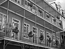 French Quarter Balcony with Plants 8 B&W. New Orleans, LA USA - May 9, 2018 - French Quarter Balcony with Plants 8 B&W stock photography