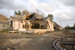 New Orleans Levy break. A home torn apart by the levy failure in Lakeview Stock Photos
