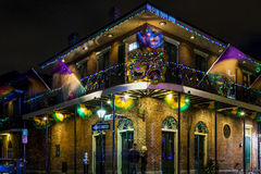New Orleans Life. NEW ORLEANS, LOUISIANA USA- JAN 23 2016: Pubs and Bars having colorful lights and decorations in the French Quarter. Tourism provides a much Royalty Free Stock Images