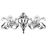 New Orleans Live Love Laugh Fleur de Lis design Royaltyfri Fotografi
