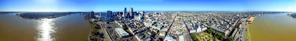 New Orleans, Louisiana. Amazing panoramic aerial view at sunset royalty free stock image