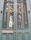 New Orleans Louisiana doorway with voodoo skeletons and flowers Stock Photography