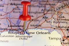New Orleans, Louisiana, festgesteckte Karte Lizenzfreie Stockbilder