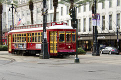 New Orleans, Louisiana - July 8, 2015: A Canal Street line streetcar rides in the downtown of New Orleans, Louisiana. Stock Photography