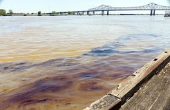 New Orleans, Louisiana/USA- April 12 2018: An oil spill of 4200 gallons flows down the Mississippi River toward the Gulf of Mexico royalty free stock image