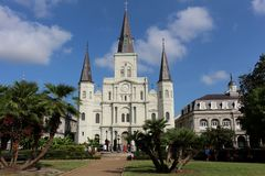 National Historic Landmark Saint Louis Cathedral in Jackson Square stock photography