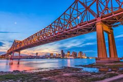 New Orleans, Louisiana, USA. At Crescent City Connection Bridge over the Mississippi River royalty free stock photo