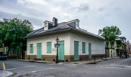 Old house at the crossroads of the streets of the French Quarter. New Orleans, Louisiana, USA. New Orleans, Louisiana, USA - June 25, 2017: French Quarter stock image